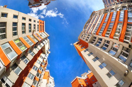 Foto de Fisheye shot of new apartments buildings exterior - Imagen libre de derechos