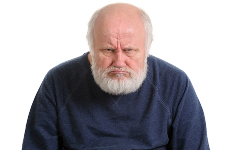 Photo pour grumpy oldfart or dissatisfied displeased old man isolated portrait - image libre de droit