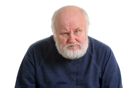 Photo pour dissatisfied displeased old man isolated portrait - image libre de droit