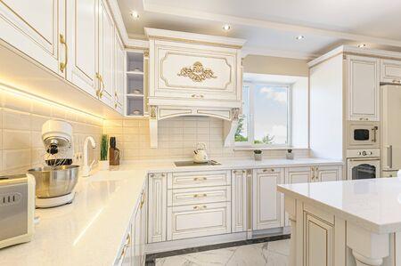 Photo pour neoclassic style luxury kitchen interior with island - image libre de droit
