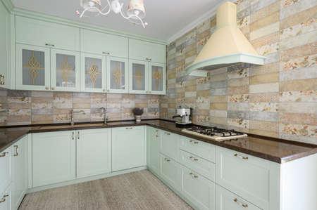 Photo pour Modern white kitchen clean interior design - image libre de droit