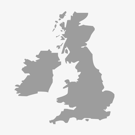 Map  of the Great Britain in gray on a white background