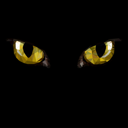 Amber  cat eyes in darkness. Style triangulation