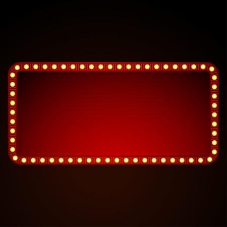 Illustration pour Signboard  for text with light bulbs. Vector illustration - image libre de droit