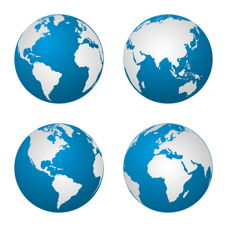 Ilustración de Earth  globe revolved in four different stages. Vector illustration - Imagen libre de derechos