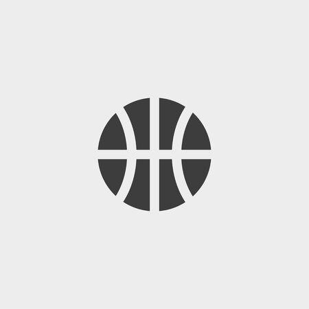 Ilustración de Basketball icon in a flat design in black color. Vector illustration - Imagen libre de derechos