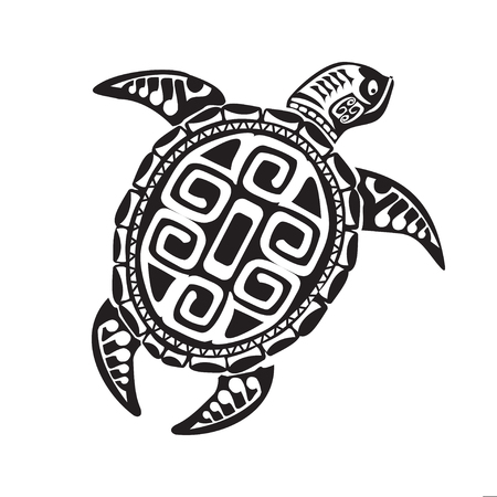 Illustration pour Turtle tattoo in Maori style. Vector illustration - image libre de droit