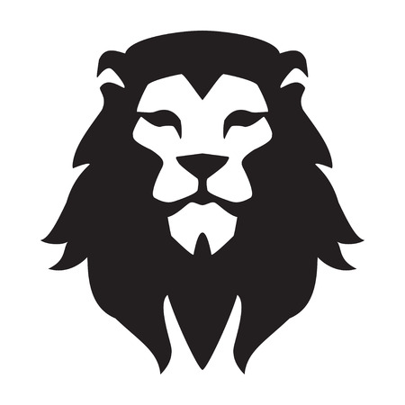 Illustration for Lion head logo template. Animal wild cat face graphic sign. Pride, strong, power concept symbol - Royalty Free Image