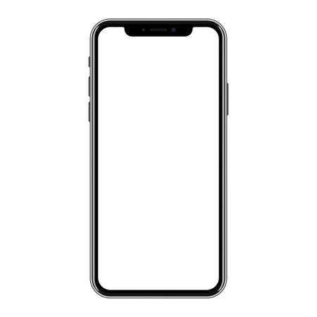 Illustration for New version of black smartphone with blank white screen. - Royalty Free Image