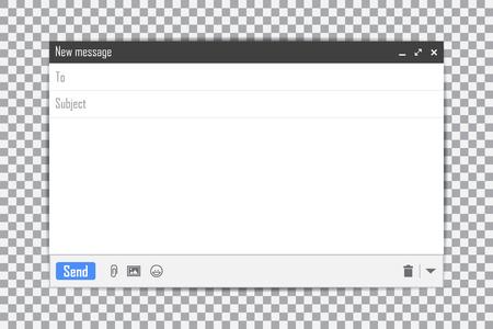 Illustration pour E-mail blank template internet mail frame interface for mail message on a transparent background. - image libre de droit