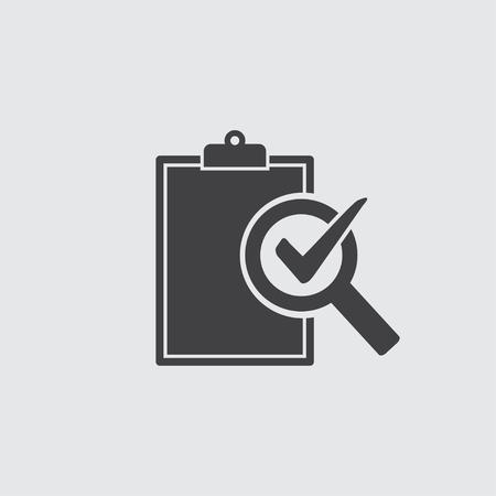 Ilustración de Audit icon in black on a gray background. Vector illustration. - Imagen libre de derechos