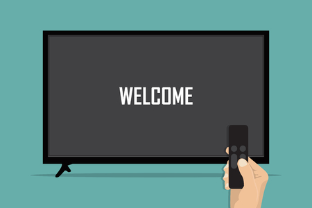 Illustration pour Hand holding television remote and directs it to TV. - image libre de droit
