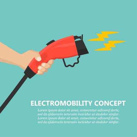 Illustration for Hand holding charging plug for electric car charging station - Royalty Free Image