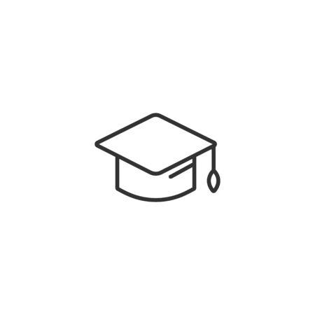 Illustration pour Graduation hat cap line icon in simple design on a white background - image libre de droit