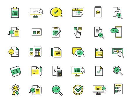 Illustration pour Set of linear audit icons. Inspection icons in simple design. Vector illustration - image libre de droit