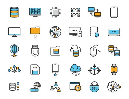 Illustration pour Set of linear computer technology icons. Database icons in simple design. Vector illustration - image libre de droit