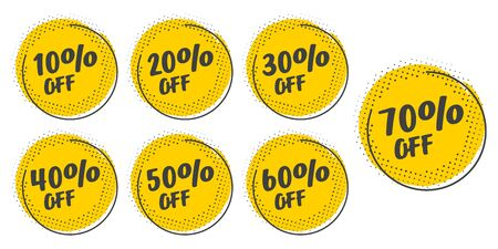 Illustration pour Set of grunge sticker with 10, 20, 30, 40, 50, 60, 70 percent off in a flat design with halftone. For sale, promotion, advertising - image libre de droit