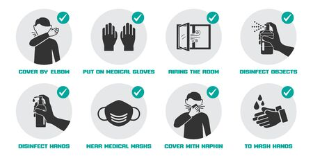 Illustration pour Preventive measures icons for not getting sick and not spreading virus - image libre de droit
