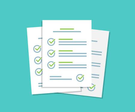 Illustration pour Document checklist paper sheets pile with tick in a flat design - image libre de droit