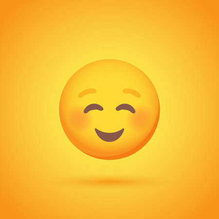 Contentment emoticon smile icon with shadow for social network design