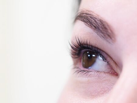 Photo for Cosmetic procedure for the care of eyelashes. The result of dyeing, waving and laminating eyelashes. - Royalty Free Image