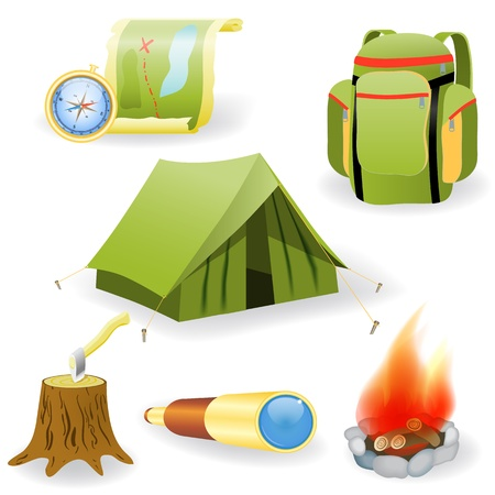 Vector illustration of camping collection  on white background