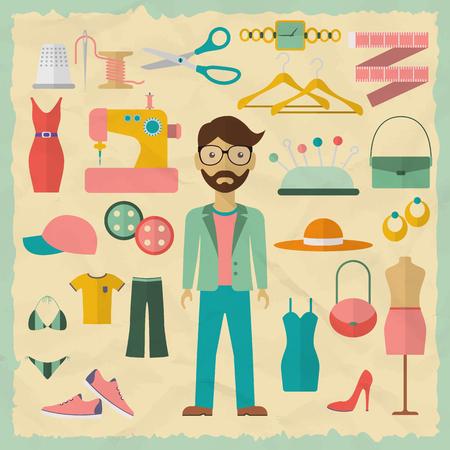 Ilustración de Fashion designer male character design with fashion objects. Fashion designer icons. Flat design vector illustration. - Imagen libre de derechos