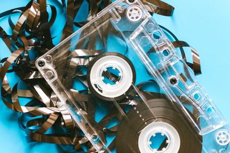 twisted audio tape and Audio cassette