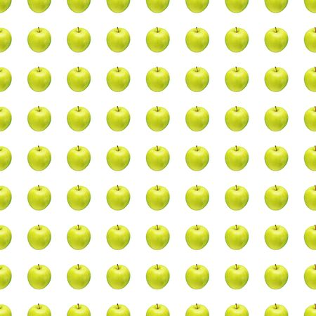 Photo for Pattern of green apples on a white background. Isolated fruits. Image for fabric, wallpaper and wrapping paper. - Royalty Free Image
