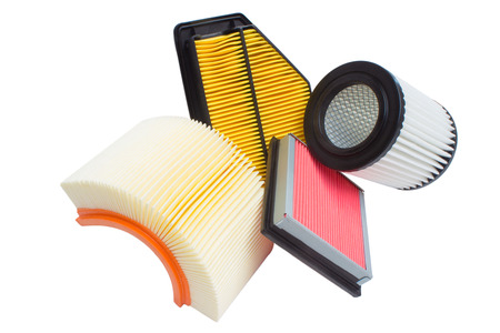 Photo pour Group of various automotive filters. Air filter, oil filter, cabin filter, automatic transmission - image libre de droit