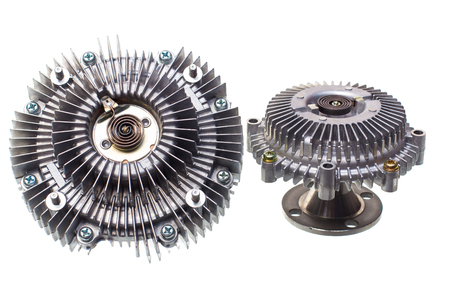 Engine Cooling Fan Clutch and bracket fan car engine on a white background