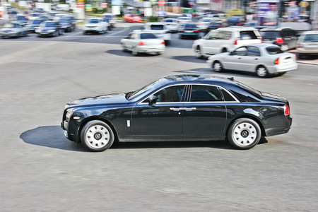 Kiev, Ukraine; April 11, 2013. Rolls-Royce Ghost. Vehicle in motion. Editorial photo.