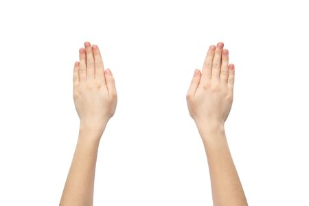 Photo pour Hands on a white background. Female hands on a white background. - image libre de droit