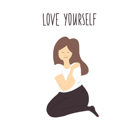 Illustration for love yourself vector illustration - Royalty Free Image