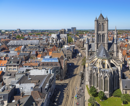 The historic center of Ghent, the Church of St. Nicholas, the Church of St. Michael, old and modern houses