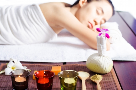 Young woman  massage in spa の写真素材