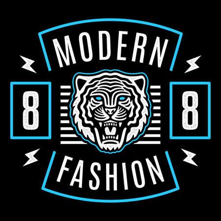 Illustration for Roaring tiger poster. Modern emblem. Vintage tiger head. Retro design. Modern fashion. - Royalty Free Image