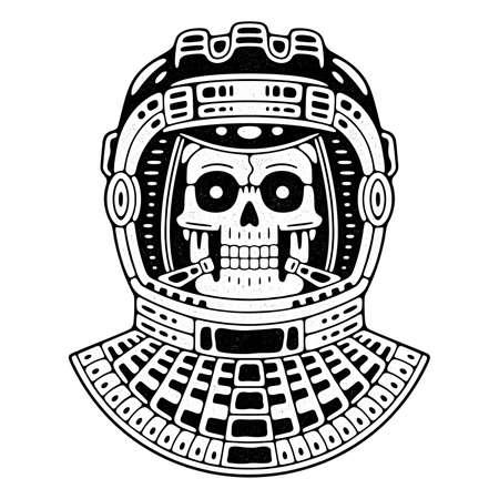 Illustration for Spaceman skull. Modern space logo. Monochrome emblem. - Royalty Free Image