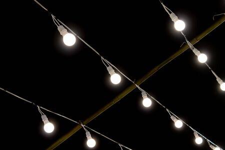 Photo for LED Lamp String on Black Night Scene Background. LED light on black background - Royalty Free Image