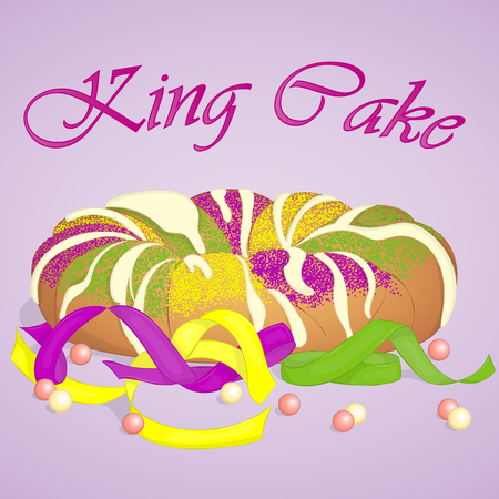 Vektor für Traditional festive King Cake to celebrate Mardi Gras. Festive beads and ribbons surround the cake. Background for Fat Tuesday in cartoon style. Vector illustration. Holiday Collection. - Lizenzfreies Bild