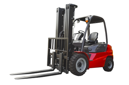 Photo pour Powerful electric forklift isolated on a white background - image libre de droit