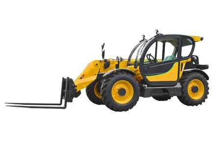 Photo pour A telescopic handler, also called a telehandler isolated on a white background. - image libre de droit