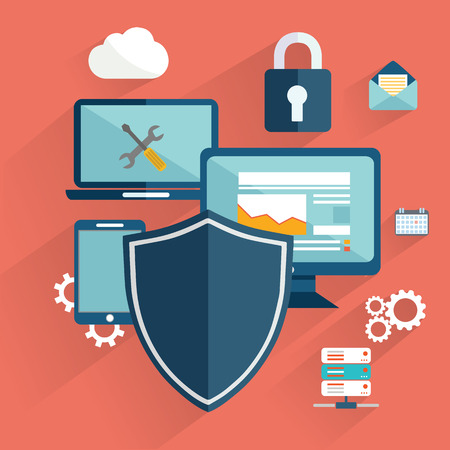 online safety, data protection, secure connection, cryptography, antivirus, firewall, cloud file exchange, internet security infographic concept vector. Laptop encrypt interface