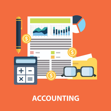 Successful financial business plan report and accounting concept vector illustration.