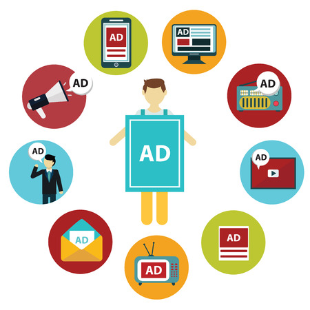 Advertising design concept set media and guerrilla marketing flat icons isolated vector illustration.