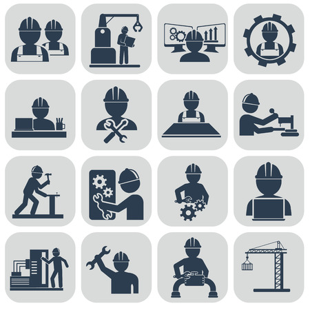 Engineering vector icons set on gray.