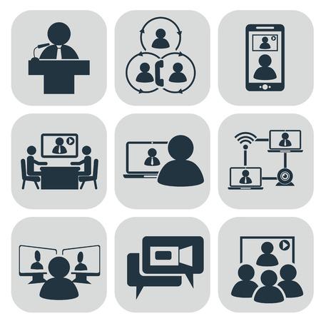Foto de Business communication. Video conference illustration - Imagen libre de derechos