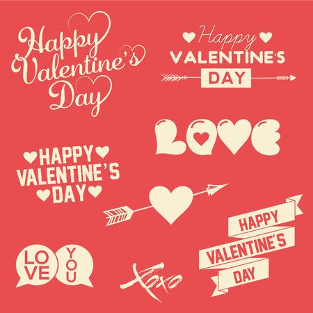 Ilustración de Set Of Happy Valentine s Day Hand Lettering Typographical Background With Ornaments, Hearts, Ribbon and Arrow - Imagen libre de derechos