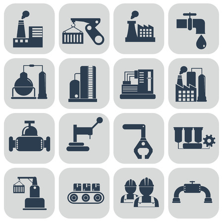 Ilustración de Vector illustration industry factory modern icons set. - Imagen libre de derechos