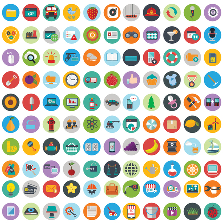 Photo pour Flat icons design modern vector illustration big set of various financial service items, web and technology development, business management symbol, marketing items and office equipment on background. - image libre de droit